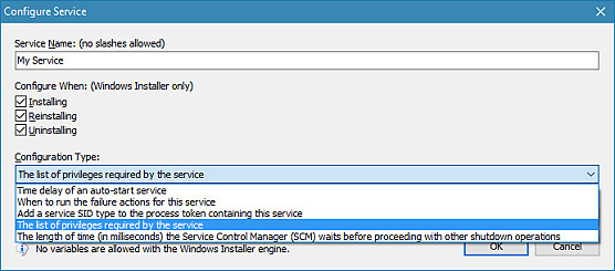 Screenshot of Service Failure Actions and Advanced Service Configuration