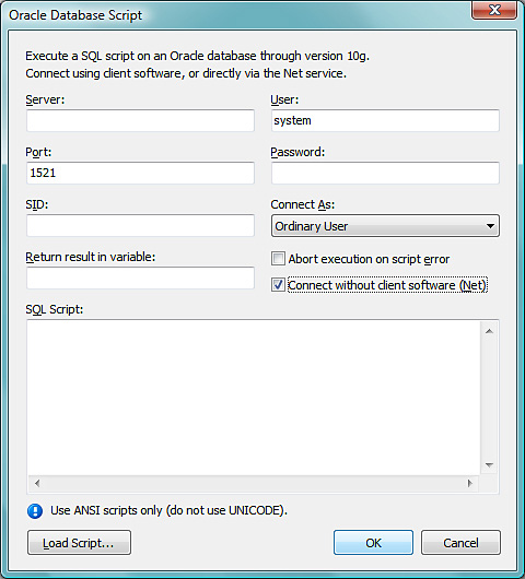Screenshot of Oracle Database Support panel
