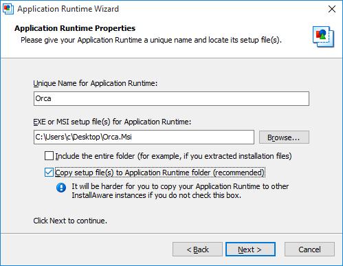 InstallAware Windows Installer Application Runtime Wizard