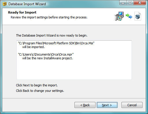 InstallAware Windows Installer - Database Import Wizard
